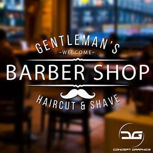 Gentleman's Barber Shop Window Wall Door Hair Salon Vinyl ...