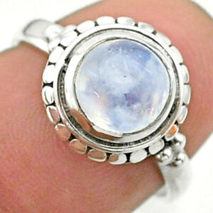 925 Silver 2.62cts Solitaire Natural Rainbow Moonstone Ring Size 6.5 T41279