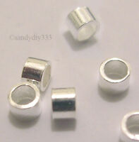2gram (~100pcs) x STERLING SILVER CRIMP TUBE BEAD 2mm x 1.5mm #532