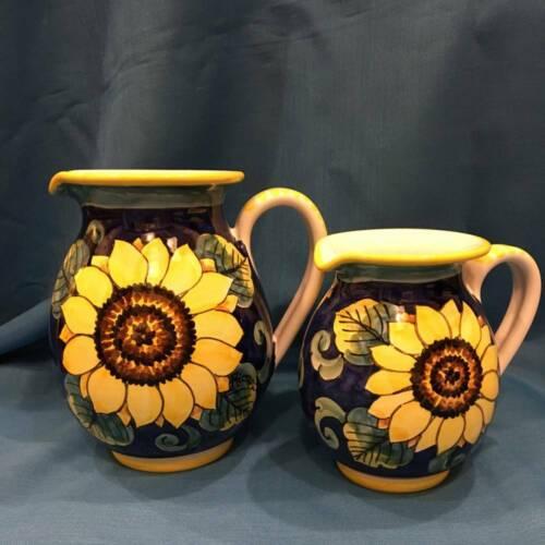 Ceramica dipinta a mano RICCERI Brocca decoro GIRASOLE BIANCO