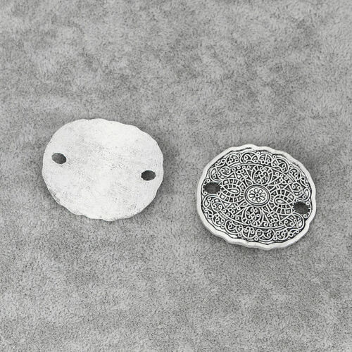 5pcs Antique Silver//Bronze Oval Disc Charm Connectors Jewelry Bohemian Findings