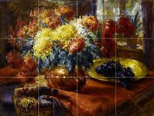 Chrysanthemums in a vase Tile Mural Kitchen Bathroom Backsplash Ceramic 17x12.75