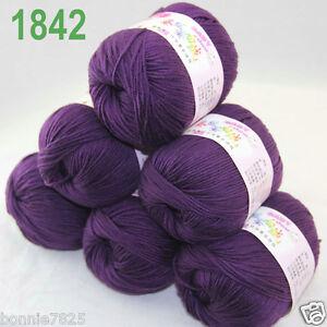 Sale-6-ballsx-50gr-DK-Baby-Soft-Cashmere-Silk-Wool-hand-knitting-Crochet-Yarn-42