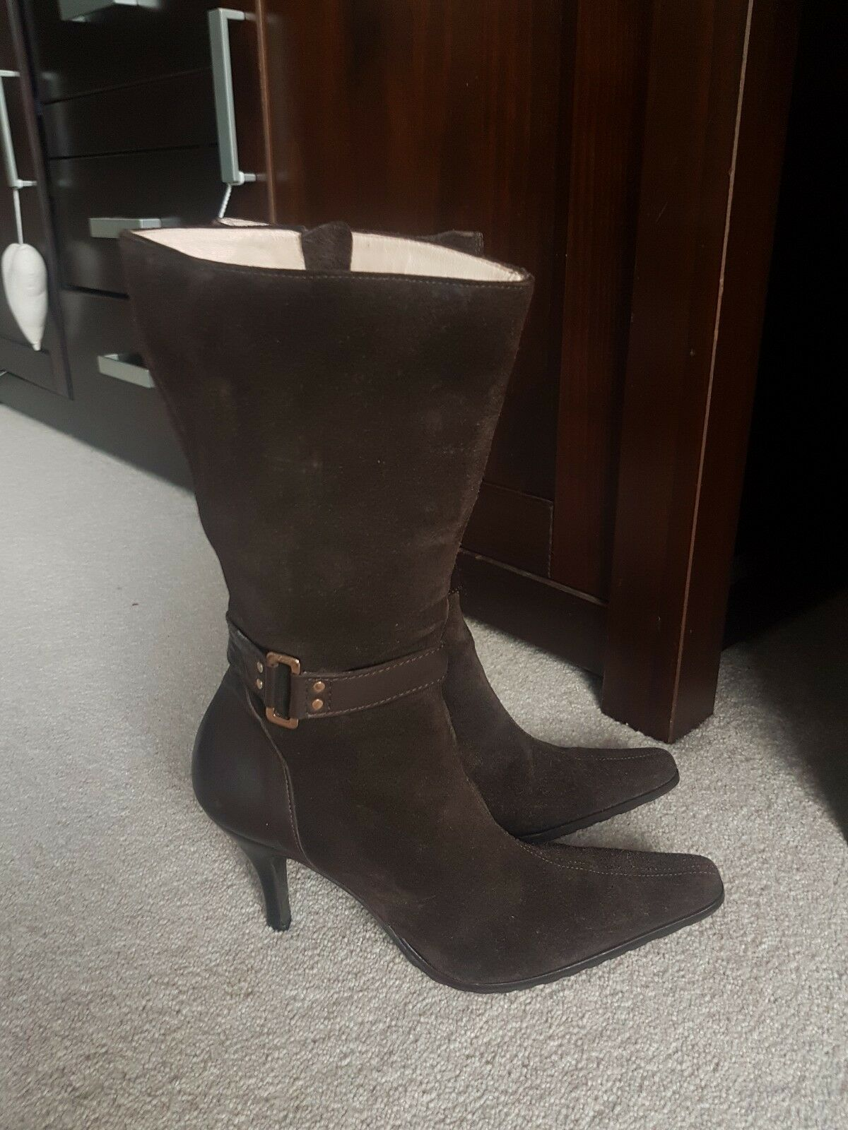 HOBBS SIZE 5 38 GORGEOUS BROWN SUEDE & LEATHER MID CALF HEELED BOOTSL@@K