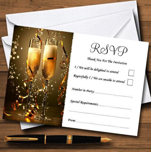 Noir Champagne personnalisé mariage ou fête RSVP cartes