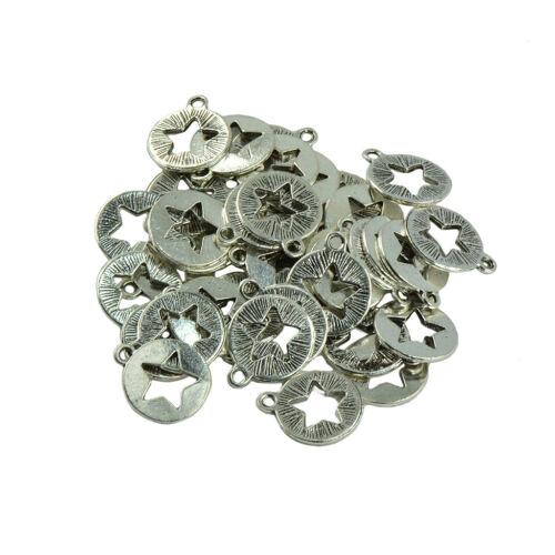 30pcs Tibetan Silver Hollow Star Pendant DIY Findings Crafts Jewelry Making