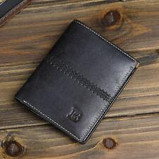 black Billfold Slim Clutch Mens Leather Bifold ID Card Holder Wallet Handbag