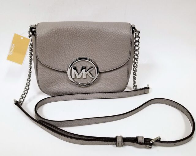 c0b38bee2947b2 MICHAEL KORS FULTON PEARL GREY PEBBLED LEATHER+SILVER CHAIN,FLAP,CROSSBODY  BAG