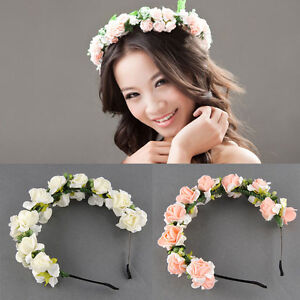 Flower garland floral bridal headband hairband wedding prom pink image is loading flower garland floral bridal headband hairband wedding prom mightylinksfo