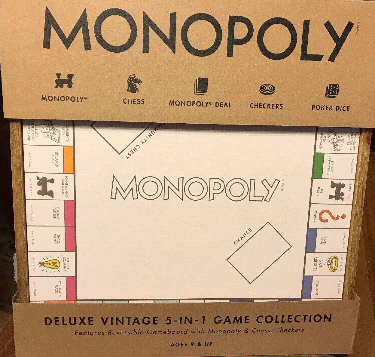 Monopolio 5 en en en 1 Deluxe Edition-Madera Tablero de juego con el ajedrez y damas  comprar barato