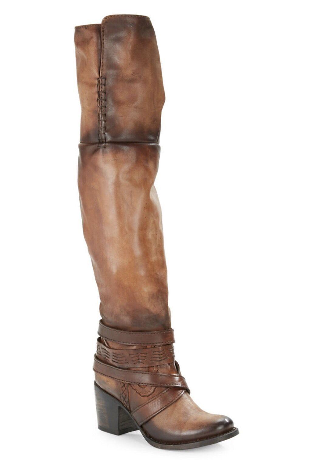 FREEBIRD BY STEVEN RODEO TALL OVER THE KNEE Stiefel WESTERN COGNAC braun BOHO 6