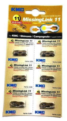 6-Pack KMC Missing Link pour 11 vitesse Shimano Campagnolo Kitsch /& KMC Chaînes