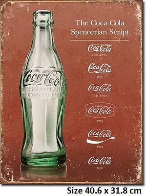 Coca Cola Script Evolution Tin Sign 1952  Made in USA