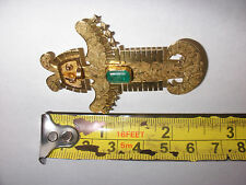 LARGE EXQUISITE VINTAGE 18K GOLD MAYAN INCA SUN GOD AZTEC EMERALD PENDANT BROOCH