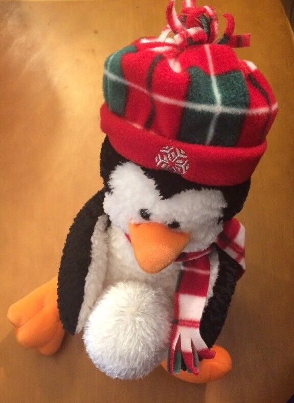 Gund Winter Penquin Plush with Scarf, Hat and Snowball