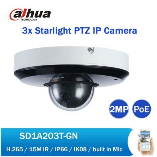 Dahua 2MP 3X Starlight IR15M POE PTZ IVS Network Camera IP66 WDR SD1A203T-GN
