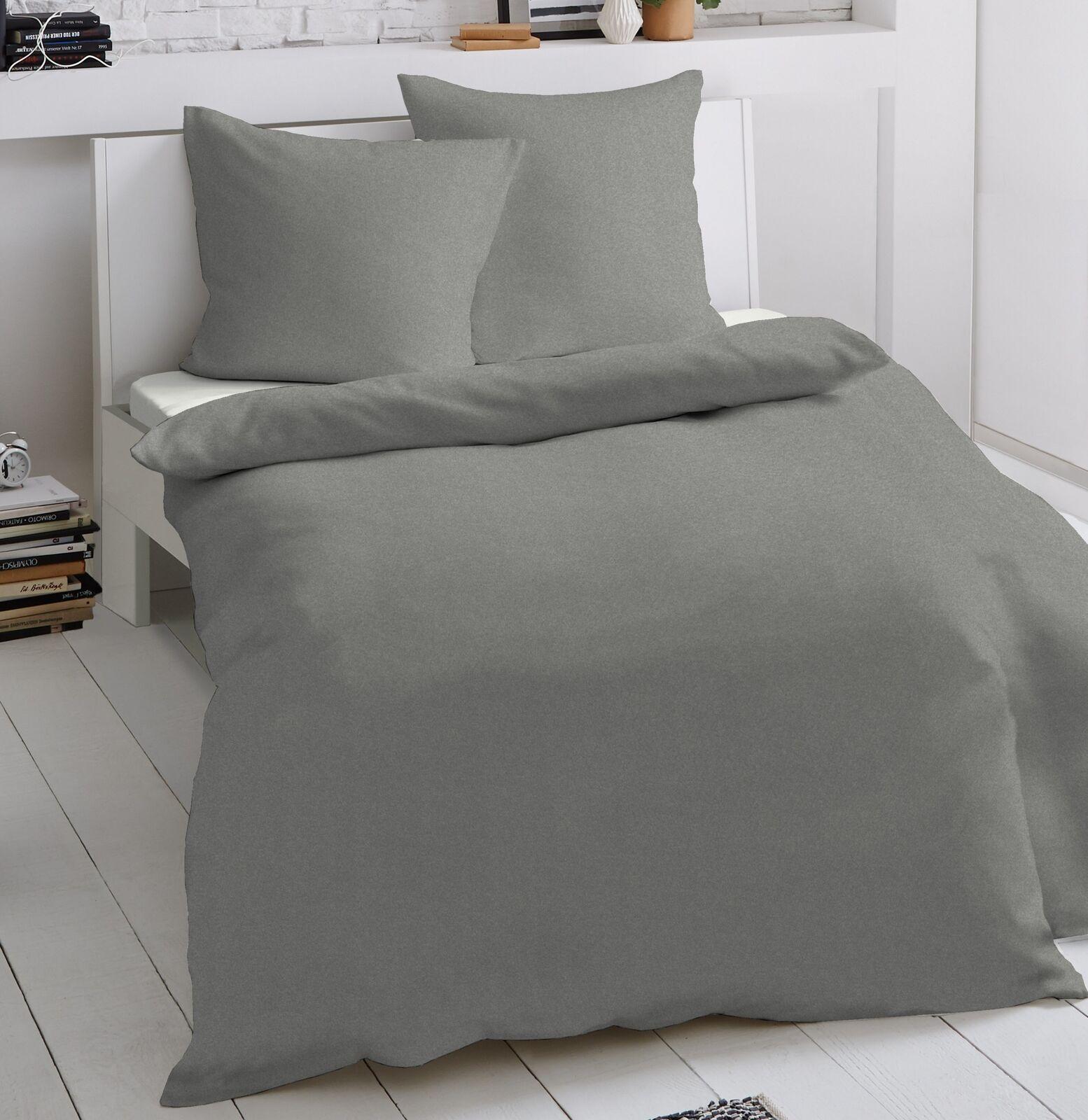 2 tlg Jersey Bettwäsche 155 x 220 cm grau Mako Baumwolle Garnitur