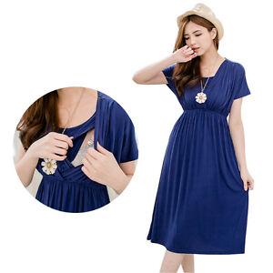 38406b85314 Image is loading Fashion-Maternity-Dresses-Breastfeeding-Clothes -European-Style-Nursing-