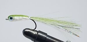 3QTY GUMMY MINNOW CHARTREUSE Fly Fishing Flies size 02