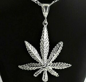 Large-3-3-4-034-Heavy-Solid-925-Sterling-Silver-Cannabis-Leaf-Marijuana-Pendant