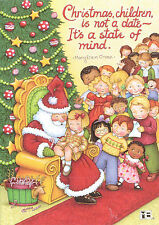 Mary Engelbreit-SANTA CLAUS AT THE MALL CANDY CANE-Paperworks Blank Card-NEW!
