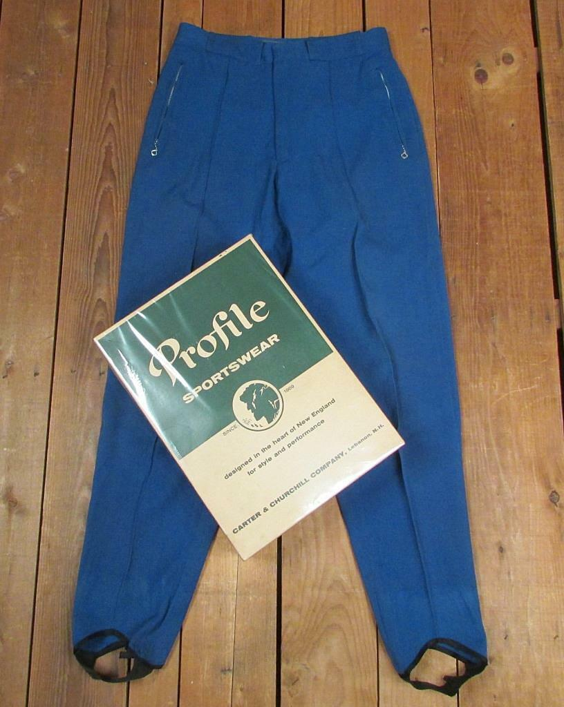Vintage 1950s Profile Sportswear Ski Snow Pants bluee Wool w Orig.Box Skiing 32 w
