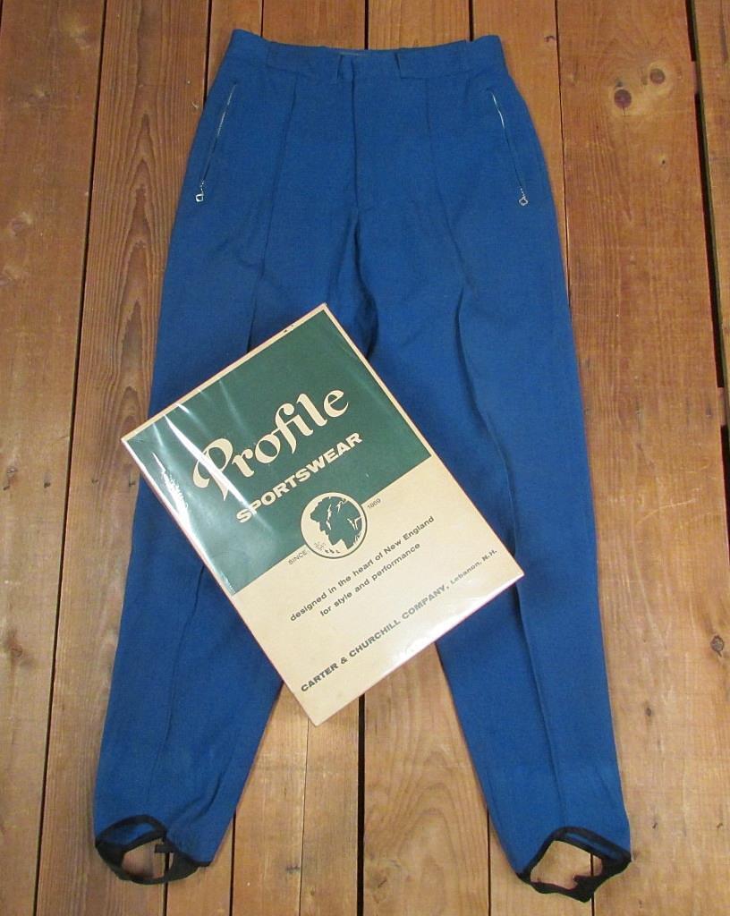 Vintage 1950s Profile Sportswear Ski Snow Pants bluee Wool w Orig.Box Skiing 32 w
