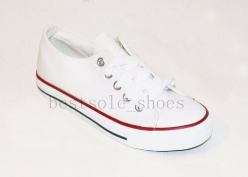 KIDS RUNNING CANVAS CHILDREN SPORTS CAUSAL PUMPS BOYS GIRLS LACE UP SHOES SIZE