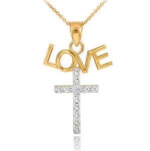 14K-Two-Tone-Gold-LOVE-Cross-Diamond-Pendant-Necklace