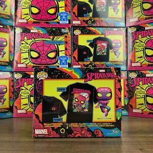 Marvel Spiderman Black Light Funko POP! Shirt & Bobble Combo IN HAND - ALL SIZES