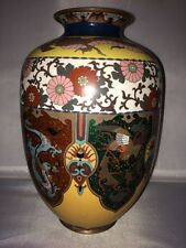 Wonderful 19th c.Large Chinese Dragon & Phoenix CLOISONNE Enamel on Bronze Vase