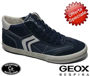Laccio Sneakers Ragazzo Alonisso cerniera Blu Scarpe J Geox Pelle nym8wPvN0O