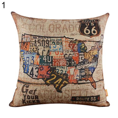 Vintage American Map Route 66 Linen Pillow Case Cushion Cover Home Cafe Decor