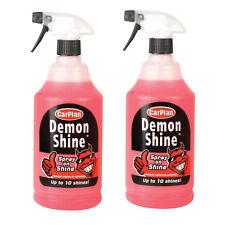 2 x Carplan DEMON SHINE Quick Spray On Wipe Car Polish Wax Paint Wheels Bumper
