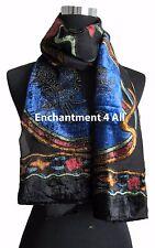 Elegant 100% Silk Burnout Velvet Circle Art Oblong Scarf Wrap, Blue/Black