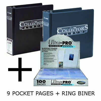 Ultra Pro 3-Ring Collectors Album Black Yu-Gi-Oh! Magic: The Gathering 100 9-Pocket Silver Pages