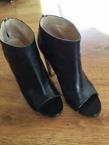 Chanel Black Leather Open Toe Boots Size 38 1/2