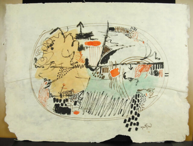 André Mathiau Composition Abstract Art Modern c1960 Drawing Original Abstract