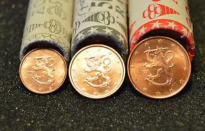 FINLANDE 2007 : 1 série de 3 pièces 1,2 et 5 cent de rouleaux