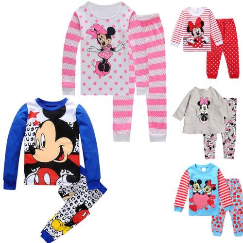 Kids Baby Boys Girls Mickey Minnie Sleepwear Outfit Pyjamas Nightwear Pjs Set UK