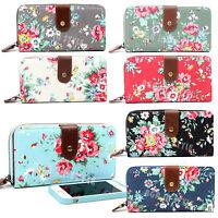 Ladies Women Designer Large Oilcloth Canvas Flower Print Purse Wallet Coin Bag