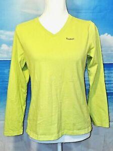 verkkokauppa halvin hinta eri tavalla Details about REEBOK Womans LIME GREEN Workout Shirt ATHLETIC Stretch LONG  SLEEVE Top size Med