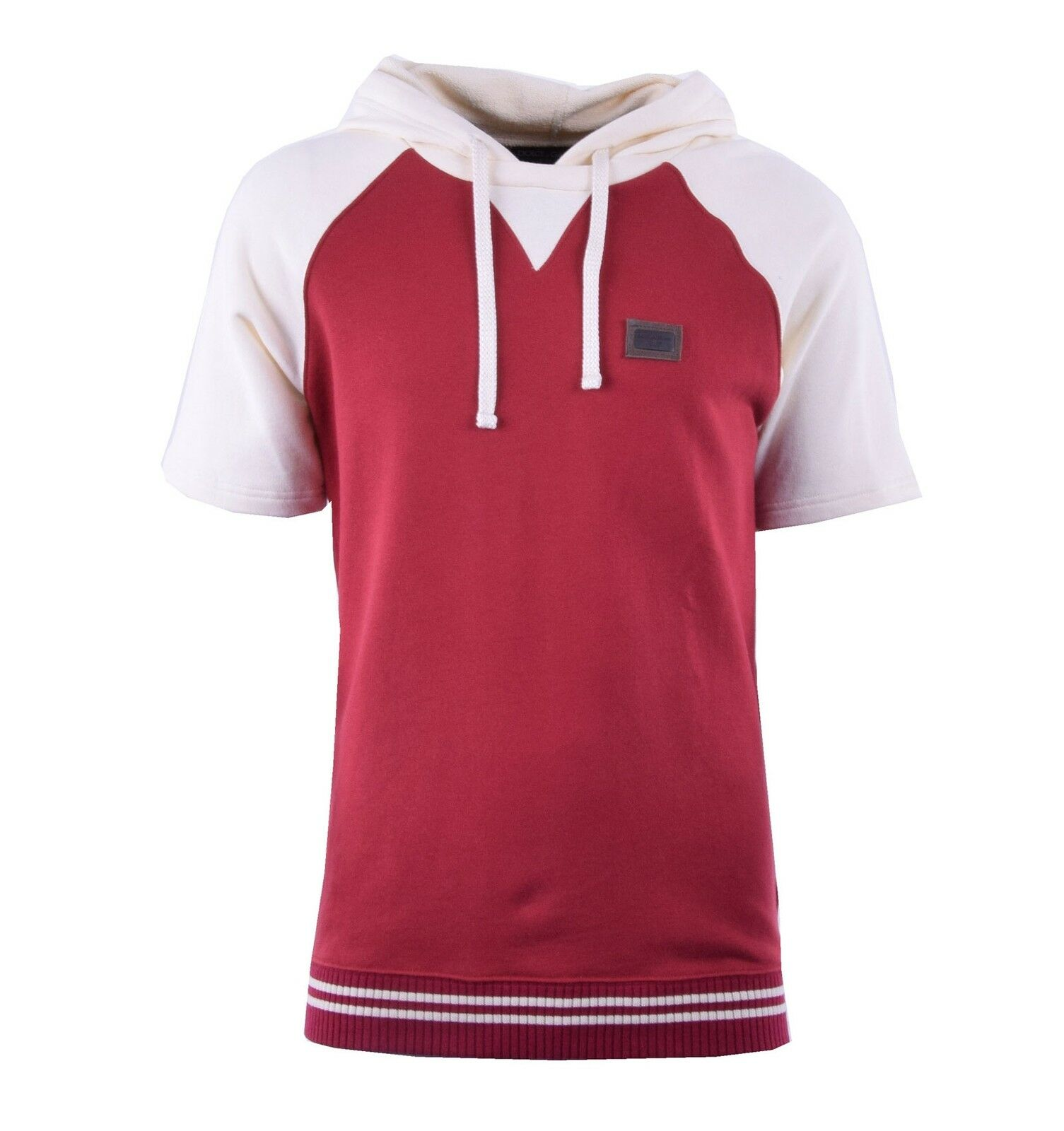 DOLCE & GABBANA Logo T-Shirt mit Kapuze Rot Weiß Hoody ROT Weiß 04231