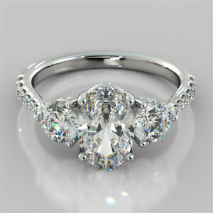 3.20 Ct Oval Moissanite Anniversary Bridal Ring 18K Real White Gold ring Size 8