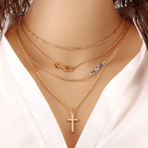 New Fashion Women Multilayer Chain Necklace Pendant Jewelry Party Charm Necklace
