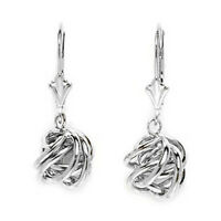 14k Solid 14 k White Gold Dangle Love Knot Leverback Earrings 25x8mm #LW66