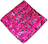 Scarf Large Square Bright Fuchsia Pink Turquoise Purple Black Cheetah Spots