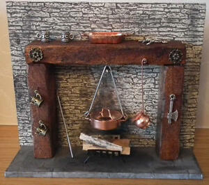 1-12-Dolls-House-miniature-Handmade-old-Tudor-Cottage-Fireplace-amp-Acc-INC-LGW