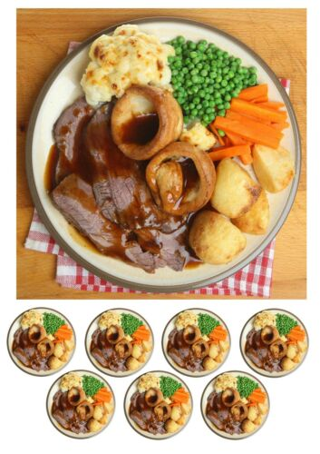 icing Roast Dinner Sunday Lunch Cake Topper A4,Round,Square or Cupcake toppers