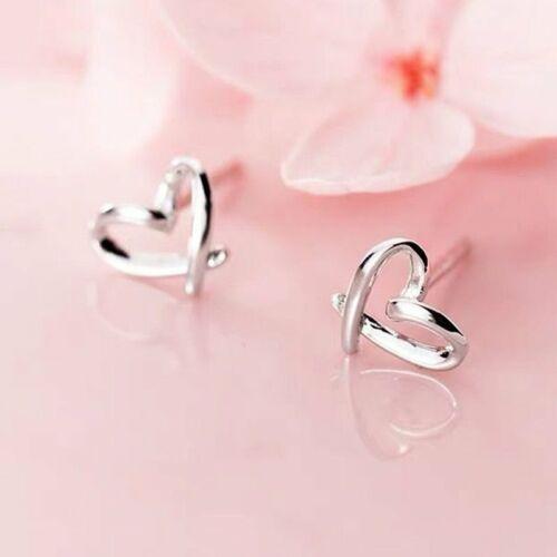 925 Argent Cœur Amour Ear Stud Femmes Boucles D/'oreilles Fashion Party Jewelry Cadeau simple